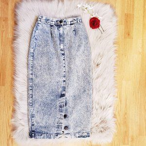 Just Cristina 80's Acid Wash Vintage Denim Skirt